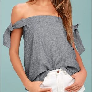 Lulu's ARLENE NAVY BLUE OFF-THE-SHOULDER TOP